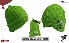 Merida Bikes Winter Cap Beanie Adult Unisex BNWT Lime Green Embroidered Cycling