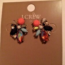 New J.Crew Embellished Jewelry Accessory Bright Multicolor Cluster Earrings