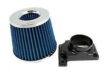 BLUE Mass Air Flow Sensor Intake MAF Adapter + Filter For 02-06 Lancer 2.0L L4