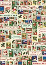 Cavallini Christmas Stamps Flat Wrap