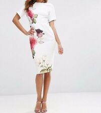 Branded Coctail Midi Wiggle Dress in Placement Rose Print 12 40 Ivory RRP £50