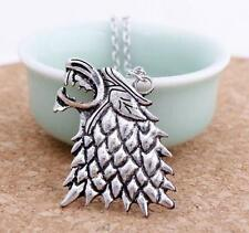 Stark Necklace Inspired Silver Pendant Direwolf Vintage Game of Thrones Charm