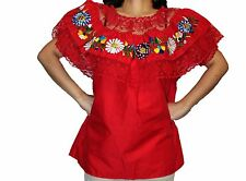 RED GYPSY PEASANT MEXICAN EMBROIDERED LACE OFF SHOULDER BLOUSE L-XL