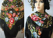 """Russian Ukrainian Gypsy Shawl Floral w/Fringes 49""""/125cm Black 80%Wool NWT #98c"""