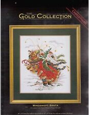 Dimensions Gold Collection Windswept Santa Cross Stitch Kit Peggy Abrams 8449