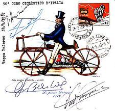 GINO BARTALI autografo- 1967 tappa PALERMO su cartoncino con altre firme org.
