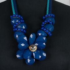 Collier Kette Halskette Statement Vintage Bohemian Blau Blume Blüte neu