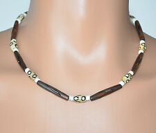 """Handmade - 19"""" Unisex Coffee Stained & Carved Bone W/Spotted Bone Beads Necklace"""