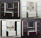 BADMÖBEL SET 5tlg HOCHGLANZ/MATT Gäste WC Waschbecken Spiegel LED Badezimmer