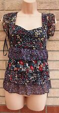 NEW YORK LAUNDRY BLACK MULTI COLORED FLORAL RUFFLE BLOUSE TOP T SHIRT TUNIC 12 M