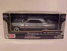 1964 Chevy Impala Coupe Hard Top Die-cast Car 1:24 by Motormax 8 inch Gray Blue