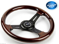 NRG Steering Wheel Classic Wood Grain 3 Spoke black 330mm ST-015-1BK
