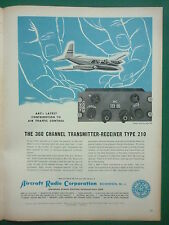 1959 PUB AIRCRAFT RADIO TYPE 210 TRANSMITTER RECEIVER AIR TRAFFIC CONTROL AD