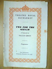 1958 Theatre Royal Haymarket Programme:Two For The Seesaw- by William Gibson