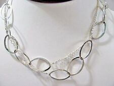 LOOP CHAIN NECKLACE LONG SHIMMERY SILVER TONE METAL NEW YORK TAG