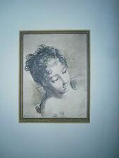 Planche gravure Tête de femme d'aprés un dessin de Boucher
