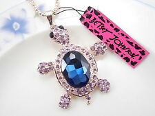 Betsey Johnson cute inlaid Crystal Rhinestone turtle pendant necklace # F054