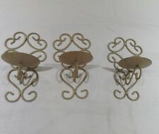 METAL SHABBY CHIC CREAM/GOLD WALL CANDLE HOLDERS