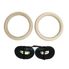 Pair of Wooden Gymnastic Olympic Gym Rings Strength Training Adjustable Exercise