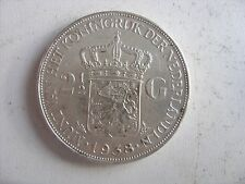 2  1/2 SILVER GULDEN 1938 Wilhelmina   KM# 165 INTERESTING GOOD CONDITION !!!!!