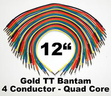 "24 New Gold TT Bantam 12"" Quad Core Patch Cables Cords 1 Foot Leads 4 Conductor"