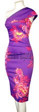 KAREN MILLEN PURPLE PINK FLORAL PRINT TROPICAL ONE SHOULDER PENCIL DRESS 10 BNWT