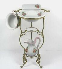 Cleaning set+Stand Antique Washbasin Wash bowl Jug Soap dish Chamber pot Flowers