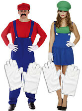 Mens Mario + Ladies Luigi Couples 80s 90s Plumber Fancy Dress Costume + Gloves