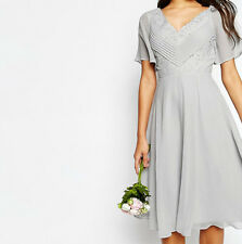 Branded WEDDING Lace and Pleat Skater Midi Dress Grey UK 10/EU 38/US 6