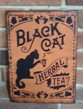"Primiive Naive  Halloween Sign ""BLACK CAT HERBAL TEA"" Hp Orange"