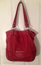 B Makowsky Large Red Leather Satchel Purse Authentic