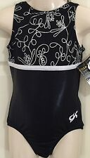 **NEW** GK leotard CM gymnastics leo child medium black and silver NWT