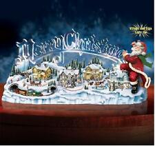THOMAS KINKADE SANTA'S INSPIRATION LIGHT UP MUSICAL CENTERPIECE VILLIAGE