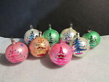 8 VINTAGE GLASS  CHRISTMAS ORNAMENTS, HAND PAINTED XMAS TREES -   POLAND