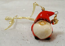 Cute Mini Ceramic Father Christmas Decoration Tree Hanging Santa Sleigh Bell