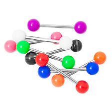 Tongue Piercing Barbells - 8 Pack No Duplicates - Colorful Acrylic Balls - 14ga
