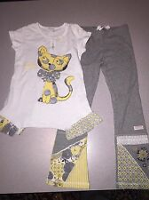 NWT NAARTJIE KITTY CAT TUNIC W/FRILLS & GREY PANTS SET SIZE 7