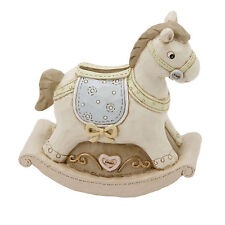 BABY BOY/GIRL ROCKING HORSE RESIN MONEY BOX PIGGY BANK CHRISTENING NE BABY GIFTS