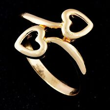 Elegant Womens Engagement  Ring Two Yellow Heart Yellow Gold Filled  Size 6
