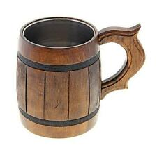 1 Beer Wooden Tea Cups Wood Mug Handmade Barrel Juice Cup Travel Oak Tinted 0.65