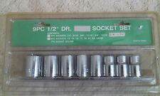 -NEW- 9pc 1/2 drive S.A.E. shallow socket set 6 point 3/8 to 13/16
