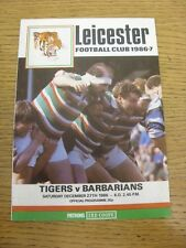 27/12/1986 Rugby Union Programme: Leciester v Barbarians. Footy Progs/Bobfrankan