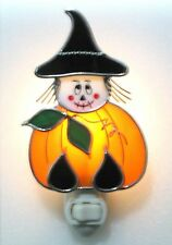 Pumpkin Witch Stained Glass Night Light