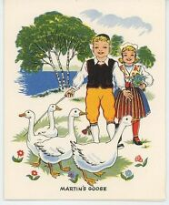 VINTAGE ST MARTIN'S DAY WHITE GEESE ROAST GOOSE APPLES RECIPE CARD ART OLD PRINT