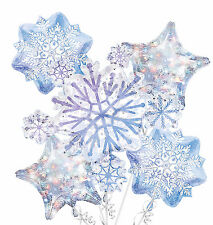 Snowflake Balloon Bouquet 5pc ~ Christmas & Birthday Decorations Party Supplies
