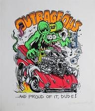 ED BIG DADDY ROTH OUTRAGEOUS RAT FINK SIGNED & NUMBERED ART SILKSCREEN PRINT