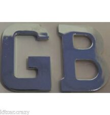 SELF ADHESIVE STAINLESS STEEL GB LETTER BADGE, GREAT BRITIAN, CLASSIC CAR