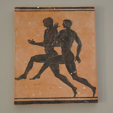 Olympic Games Nude Ancient Greek runners athletes plaque FRESCO reproduction