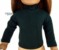 "Black  Long Sleeve T-Shirt Ruffle Neck made for 18"" American Girl Doll Clothes"