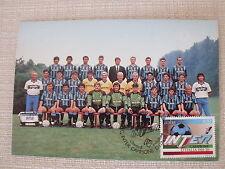 CARTOLINA CALCIO SQUADRA INTER F.C. CAMPIONE D' ITALIA 1988/89 CON ANNULLO